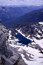 Glacial cirque with lake & u-shaped Crow Creek Valley as seen from Hoyt Peak - Geology - Glacial Photo