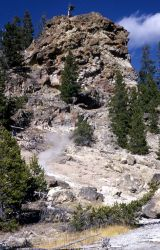 Cemented glacial till in Porcupine HIlls, steam visible from fumerole - Geology - Glacial Photo