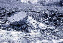 Glacial rock table at edge of glacier - Geology - Glacial Photo
