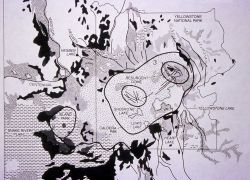 Black & white geologic map of the Yellowstone region showing fault lines, caldera outlines & lava flows Photo