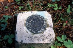 Benchmark near LeHardy Rapids - this benchmark is the reference point used to measure the area where the ground surface has increased & decreased in e Photo