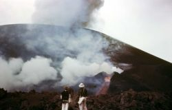Paricotin, Mexica - eight month old volcano shows side vent and lava flow Photo