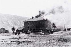 Double Barracks fire, Fort Yellowstone Photo