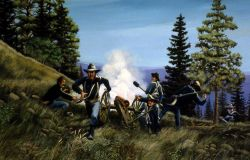 Howitzer scene, pursuit of Nez Perce, Big Hole Battlefield Photo