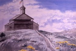 Painting of Norris Blockhouse at Mammoth, built in 1879, razed in 1909 Photo
