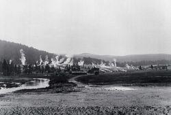 Soldier station at Upper Geyser Basin, Geyser Hill in background, Old Faithful Photo