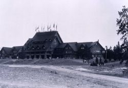 Historic view of Old Faithful Inn, constructed in winter of 1903-04 Photo