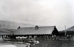Gardiner train depot, pond & stagecoaches Photo