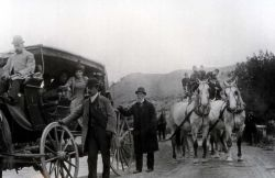 Tourists in stagecoaches Photo