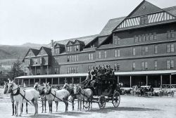 Mammoth Hotel with stagecoaches Photo