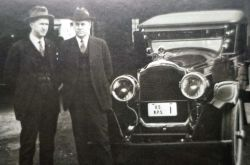 Superintendent Horace Albright & National Park Service Director Stephen Mather beside National Park Service Packard Photo