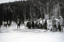 Ranger Naturalist talking to group at Upper Geyser Basin Photo