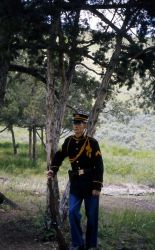 John Whitman, dressed as a soldier in Fort Yellowstone, during a Voices of Yellowstone (living history) program Photo
