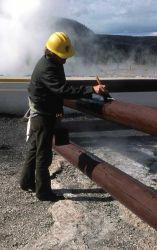 Maintenance worker painting railings Photo