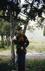 John Whitman, dressed as a soldier at Fort Yellowstone, during a Voices of Yellowstone (living history) program Photo