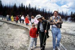 Katya Lockridge leading guided walk in geyser basin Photo