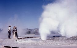 Clepsydra Geyser - shows old location & style of Fountain Paint Pot boardwalk Photo