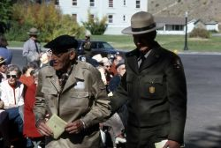 Al Mebane (ranger) & Pop Scoyen (born in 1907 in Norris Blockhouse, spent his entire life in Yellowstone National Park, considered a