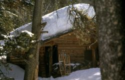Crystal Spring patrol cabin (moved to the Three Rivers area in the Bechler region in the early 1990's) Photo