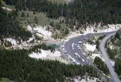 Aerial view of the Mud Volcano parking lot Photo