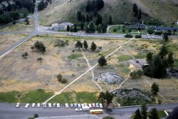 Aerial view of Mammoth Hot Springs Photo