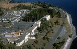 Aerial view of Lake Hotel & cabin areas Photo