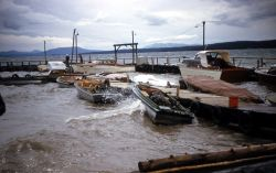 Storm at Yellowstone Lake boat dock Photo