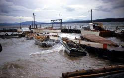 Storm at Yellowstone Lake boat dock Photo