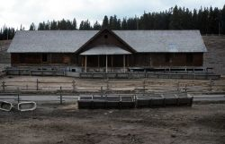 TW corral & barn at Canyon, original Canyon Hotel dormatory - burned in spring of 1993 Photo