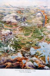 Illustrated map of Yellowstone found in the Oregon Short Line brochure