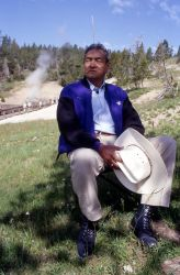 Grant Bull Tail (Crow Indian) near Dragon's Mouth at Mud Volcano - History - Indians Photo