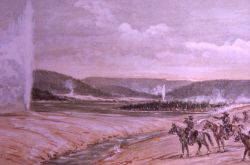 Painting of Old Faithful depicting Hayden Survey 1871 Photo