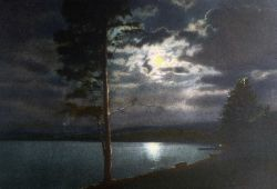 Postcard of moonlight on Yellowstone Lake Photo