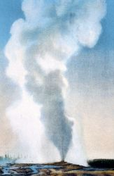 Postcard of Old Faithful Geyser Photo