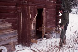 Slough Creek scout house broken into by a grizzly bear Photo
