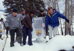 Mike Phillips, Jim Evanoff, Molly Beattie, Director of USFWS, Mike Finley, YNP Supt. and Bruce Babbitt, Secrerary of the Interior carrying first crate Photo