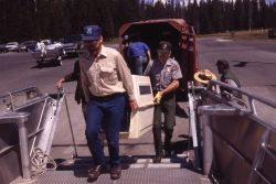 Loading boat at marina with Trail Creek wolves Photo