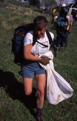 Deb Guernsey carrying four wolf pups in a bag Photo