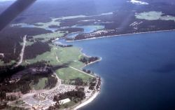 Aerial view of Lake Yellowstone Hotel & Yellowstone Lake Photo