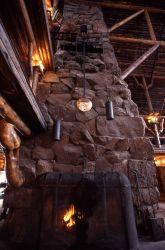 Fireplace in Old Faithful Inn lobby Photo