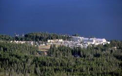 Yellowstone Lake Hotel & cabin area as seen from Elephant Back Photo