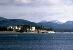 Lake Hotel as seen from Yellowstone Lake Photo