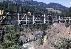 Suspension bridge at Hellroaring Photo