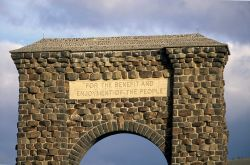 Top of the Roosevelt Arch with inscription,