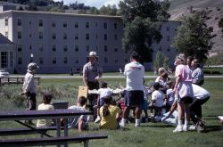 Bill Wengeler leading an interpretive wildlife talk at Mammoth Hot Springs Photo