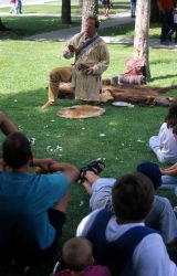 Interpretive Ranger Tom Robertson presenting a living history program at Mammoth Hot Springs Photo