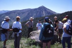Bill Wengeler leading an interpretive hike up Clagett Butte Photo
