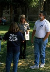 Rebecca Sheedy leading an interpretive talk on the lawn of the Albright Visitor Center at Mammoth Hot Springs Photo