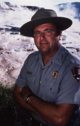 Superintendent Bob Barbee on Mammoth Hot Springs terraces Photo