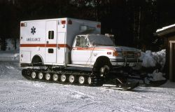 Ambulance on snow tracks in the Old Faithful area Image